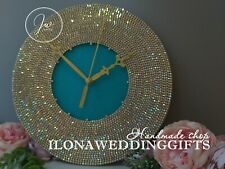 Swarovski Crystal Unique Bling Sparkle Silent Wall Clock Elegant Luxury Tiffany
