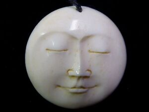 Natural White Handmade Indonesia Water Buffalo Moon Pendant Amulet 29mm Cord