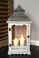 XL Holz Laterne Windlicht Metalldach weiß / grau gewischt 60 cm Landhaus Shabby