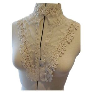 ivory floral cotton embroidered lace applique sew on vintage style collar motif