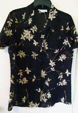 Studio C Women's Floral Sheer Blouse Shirt Size 14