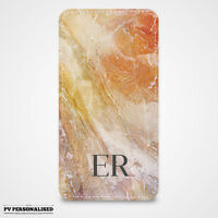 PERSONALISED MARBLE & INITIALS POUCH POCKET CASE COVER for APPLE IPHONE