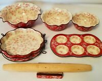 Temp-tations Bakeware Red Floral Lace Set Bowls Muffin Tin Rolling Pin & Holder