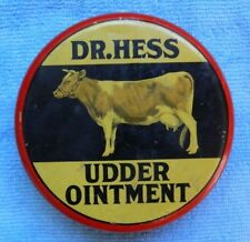 Rare Vintage Dr. Hess Udder Ointment Tin Can w/ Superb Cow Graphic