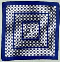 Vintage Silk Scarf ECHO navy blue white geometric classic retro mod
