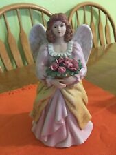 Vintage Homco #8806 Angel Figurine Holding A Basket Of Roses Excellent Condition