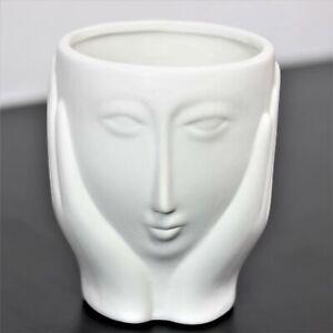 Small White Ceramic Face Hands Cache Herbs Plant Pot Planter Vase Home Decor