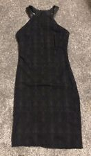 Black textured halter neck dress leather neck strap size small
