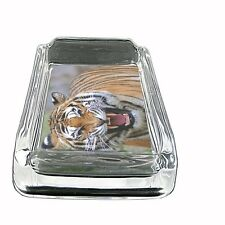"Tiger Glass Ashtray D3 4""x3"" Wildlife Zoo Bengal Cat Wild Animal"
