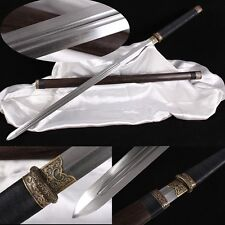 "Full Tang Chinese Sword ""Tang Jian""(劍) Copper Fitting Sharp Blade Pattern Steel"