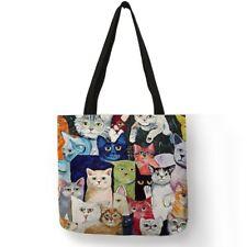 Design Cute Kawaii Cartoon Anime Cat Print Linen Tote Bag Women Fashion