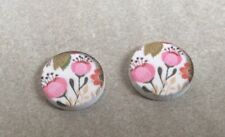 Wooden cabochons, 16mm, 2pcs, Pink Floral on White, Jewellery Making, Crafts