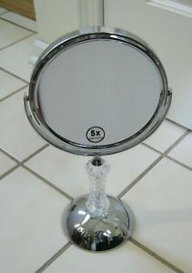 Polished Chrome Countertop Table Round Mirror 5X Magnification 02-DM0014