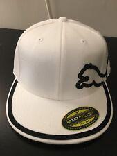 """Puma Golf White – Black Monoline Cap Flat Bill 7-1/4 -7 5/8""""Fitted Cap"""