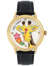 BETSEY JOHNSON BJ00084-96 Gold-Tone Giraffe Dial Black Strap 42mm Women's Watch*