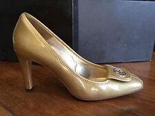 Scarpe donna décolleté GUCCI oro pelle vernice glitter fibbia logo num 39 Tacco