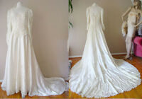 VINTAGE LACE PEARL BEAD SEQUIN SATIN IVORY WEDDING DRESS FOR VEIL TIARA GOWN