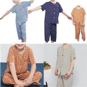 Boys Girls Pajamas Set Sleepwear Short Sleeves Top+Cropped Trousers Nightwear