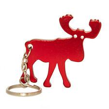 Schlüsselanhänger Elch - Flaschenöffner - rot metallic