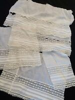Antique Fabric Fragments Scraps White Lace Cutter Crafts Salvage Material