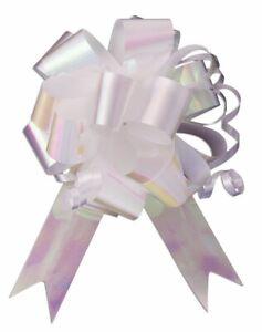"10 - 4"" Iri. White Pull Bow Pew Bows Wedding Decorations Christmas Gift Wrap"