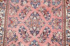 Traditional All-Over Floral PINK Sarouk Area Rug Hand-made 225 Knots Wool 4'x7'