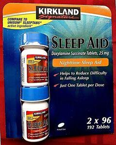 Kirkland Signature Sleep Aid Doxylamine Succinate 25 Mg 192 Tablets EXP 03/2024