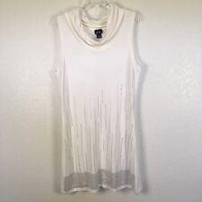 Dot's Ivory Cowl Neck Sleeveless Sweater Dress Crystal Details Size 1X