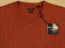$225 ALAN FLUSSER 100% PURE CASHMERE CABLE KNIT V-NECK SWEATER -XXL -NEWwTAGS