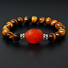 Eye & Carnelian Beads Bracelet Jk-44E292 180 Cts Earth Mined Stretchable Tiger