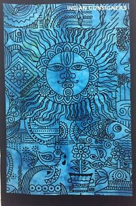Small Poster Traditional Sun Design Cotton Fabric Tapestry Table Cover Indian