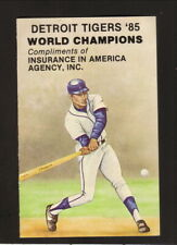 Detroit Tigers--1986 Pocket Schedule--Insurance in America