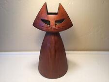 MidCentury Danish Modern Ceramic Pottery Cat CandleHolder Looks Like Wood SIGNED
