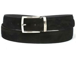 Paul Parkman Mens Belt Suede Black Hand-Painted Adjustable B06-BLK