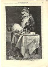 Stampa antica GATTI INTRUSI A TAVOLA Cats 1882 Old antique print