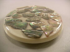 Vintage Kitchen Trivet Abalone Shell Hot Pad Shabby Cottage Beach Seashell Decor
