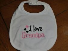 Embroidered Baby Bib - I Love Grandpa - Girl