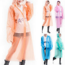 Adult Raincoat Clear Waterproof Plastic Disposable Rain Poncho Hood Womens Mens