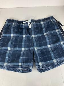 Faded Glory Swimwear Mens Size 3XL 48-50 Blue Plaid Swim Trunks -476