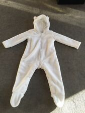 White Thick & Soft Fleecy LITTLE WHITE COMPANY Snowsuit/pramsuit (18-24 Months)