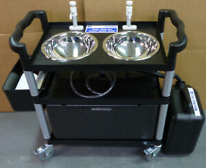 Portable hand wash double bowl, trolley unit st. steel bowls  F.S.A. Compliant