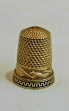 Antique 14K Yellow Gold Sewing Thimble with Blacked Bottom Border Design