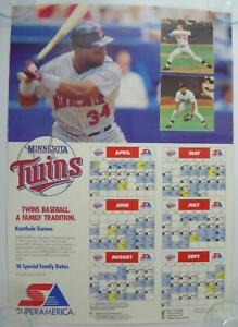 Kirby Puckett Minnesota Twins Poster 1990 Schedule 18x26