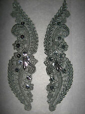 Black Beaded Sequin Embroidered  Applique 2 (Pair)Sewing/Costume/Crafts/Bridal