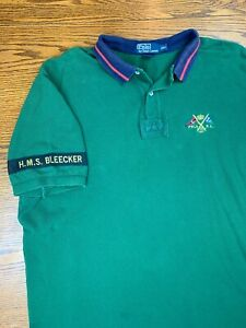 Polo Ralph Lauren H.M.S. Bleecker Green Collared Polo Shirt XXL 2XL Gold Crown