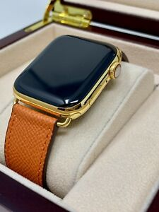 24K Gold Plated 44MM Apple Watch SERIES 4 Orange Leather Band GPS+LTE CUSTOM