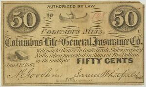 1864 Columbus Life & General Insurance Co. 50C Cent VG Fractional Currency Fifty