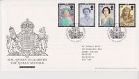 GB ROYAL MAIL FDC FIRST DAY COVER 2002 QUEEN MOTHER STAMP SET LONDON PMK