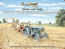Victory Harvest. Farm Tractor Spitfire Land Army War WW2 Small Metal/Tin Sign