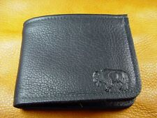 Black Bison BUFFALO LEATHER BiFold Wallet handcrafted disabled Navy veteran 5010
